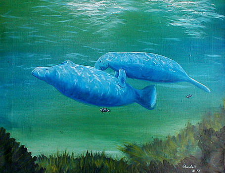 Mother and Daughter Manatee by Randall Brewer