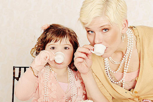 Mother Daughter Duo Sharing Some Afternoon Tea by Kriss Russell