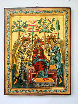 Mother of God in heaven with the Archangels Hand Painted Holy Orthodox Wooden Icon by Denise Clemenco
