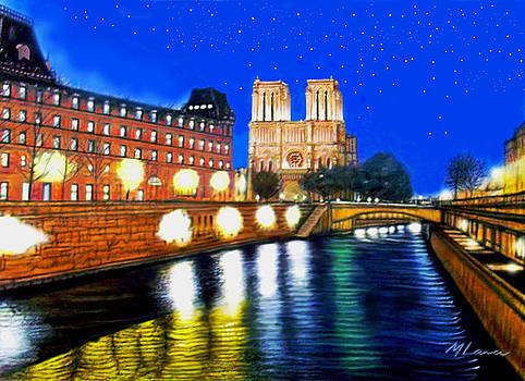 Notre Dame Paris  and the Sienne River by Marcos Lara