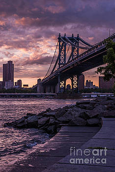 NYC- Manhatten Bridge at night by Hannes Cmarits