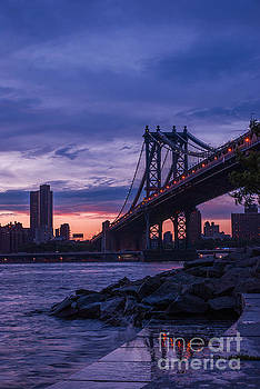 NYC - Manhatten Bridge at Night II by Hannes Cmarits
