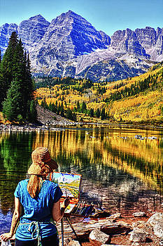 Painting Maroon Bells by Bruce Hamel