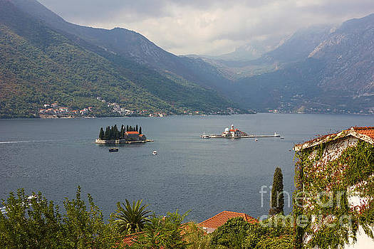Panoramic view of Kotor Bay with the monastery  by Kiril Stanchev