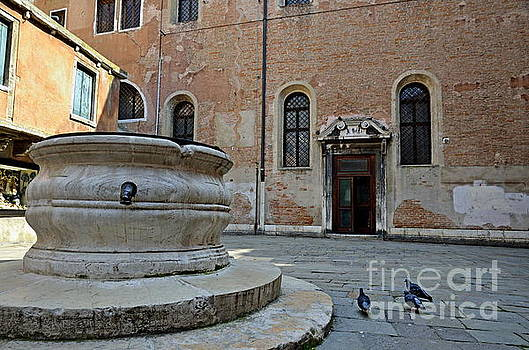 Pigeons in a courtyard by well by Sami Sarkis