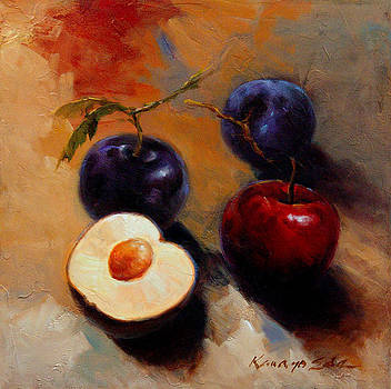 Plums and Nectarines - Luscious fruit painting by Kanayo Ede