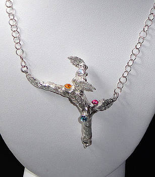 PUre Silver Tree with Gems Pendant Necklace by Robin Copper