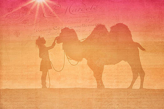 Queen Of Travel Comforting Her Weary Camel by Kriss Russell