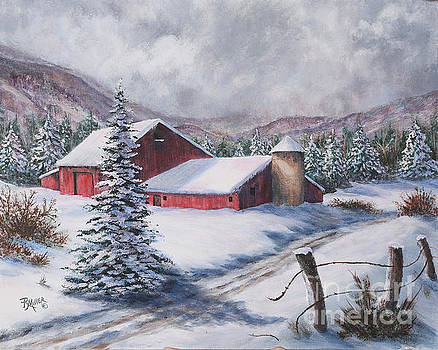 Red Barn In Snow by Rita Miller