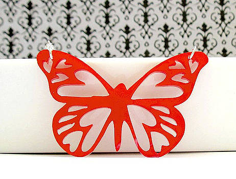 Red Butterfly Pendant Necklace by Rony Bank
