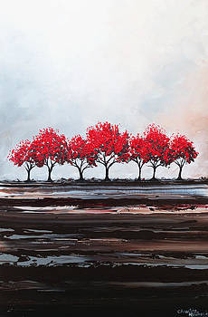 Red Trees Abstract by Christine Krainock