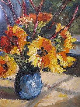 Redtwigs and Sunflowers by Wendie Thompson