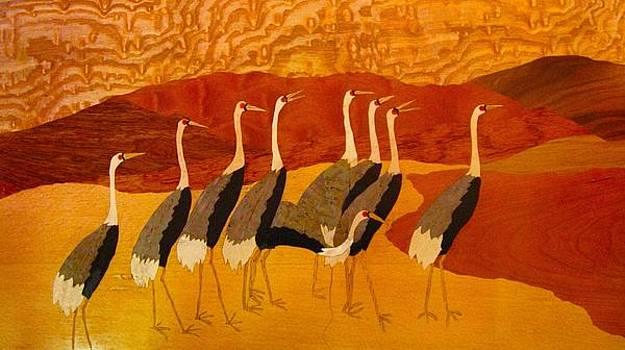 Royal birds-Wood veneer  by Pankaj Jain