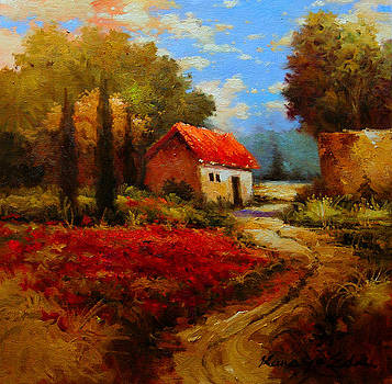 Rural Cotone 1 - Italian Village painting by Kanayo Ede