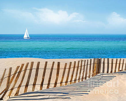Sailboat and Sand Dune Fence by Cheryl Casey