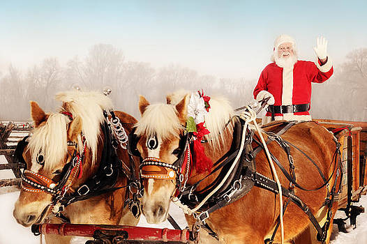 Santa In A Winter Wonderland With His Sleigh And Horses by Kriss Russell