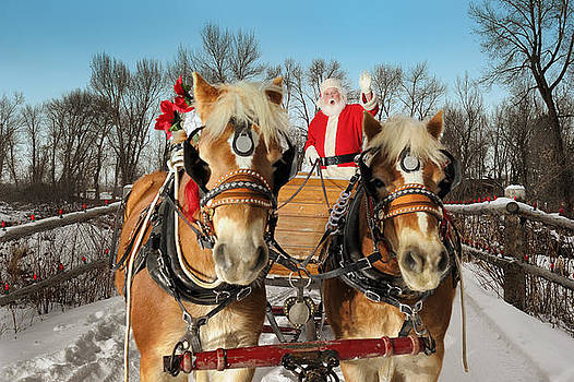 Santa  On An Evening Ride With His Team Of Horses by Kriss Russell
