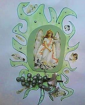Silver and Green Angel by Karen Jensen
