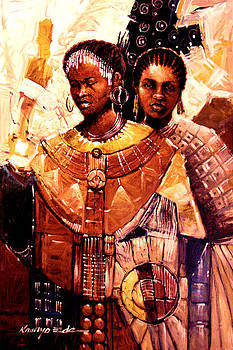 Sisters - Adorned ceremonial African sisters by Kanayo Ede