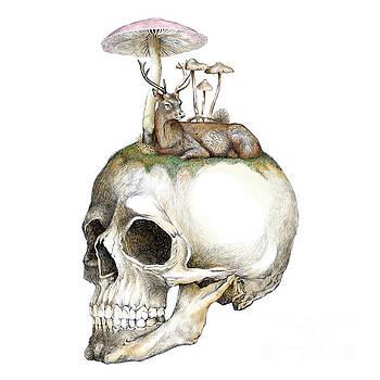 Skull and Mushrooms by Jakarin Prawatruangsri