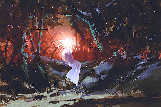 Spirit Of The Enchanted Forest,woman In by