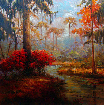 St Charles Stream - Louisiana swamp delta landscape painting by Kanayo Ede