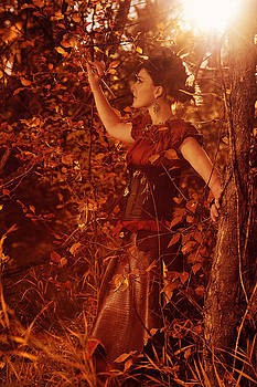 Steampunk Autumn Fairy Painting In The Fall Colors by Kriss Russell