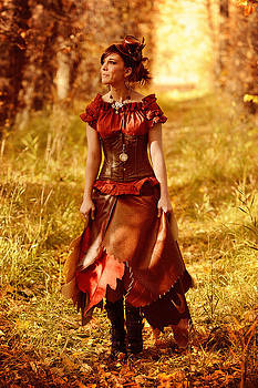 Steampunk Autumn Fairy Ushering In The Fall Colors by Kriss Russell