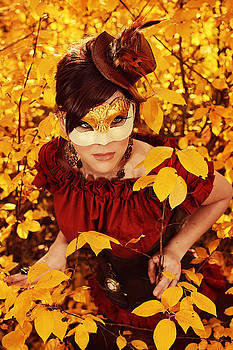 Steampunk Fairy In Autumn Foliage by Kriss Russell