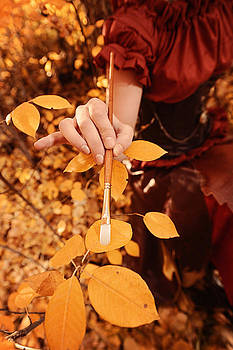 Steampunk Fairy Painting The Last Leaves Of Fall Golden Yellow by Kriss Russell
