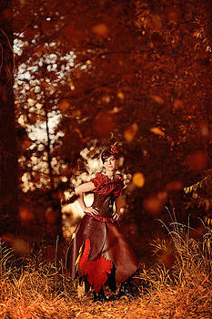Steampunk Woman In Forrest Of Falling Leaves - Autumn's Arrival by Kriss Russell