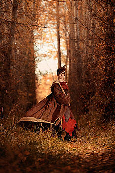 Steampunk Woman Making Her Woodland Entrance With Vivid Fall Col by Kriss Russell