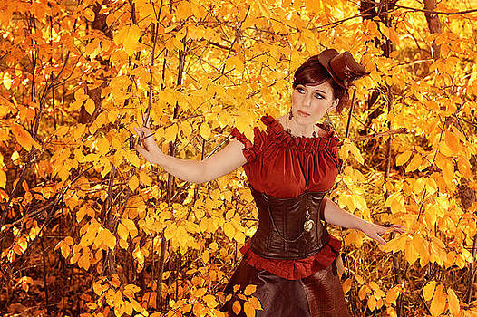 Steampunk Woman Standing In Autumn Color Display In The Woods by Kriss Russell