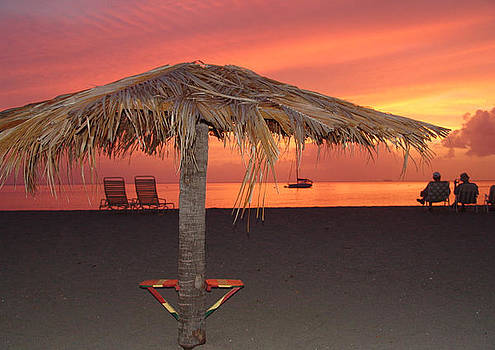 Sunset and a chair by Sharon Theron