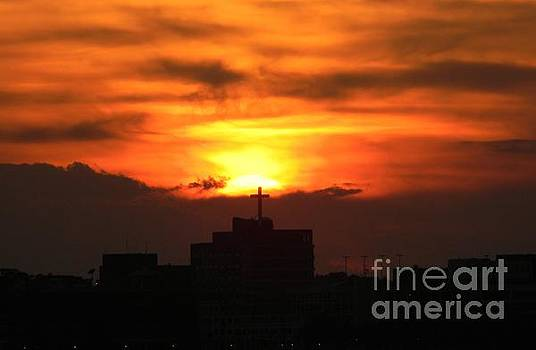 Sunset Over A Cross by Joanne Askew
