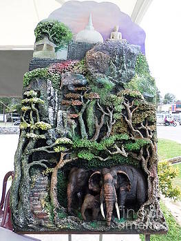 Temple And Elephant by Sunanda Yapa