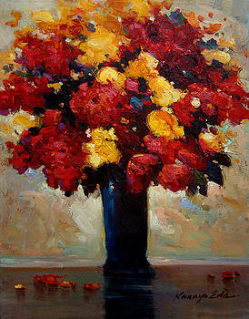 The Blue Vase - Bouquet of red and yellow flowers art by Kanayo Ede