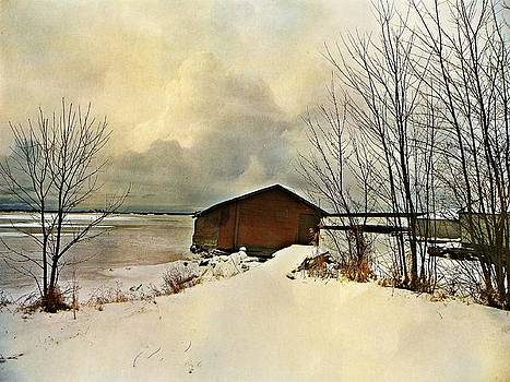 The Winter Boathouse by Dianne  Lacourciere