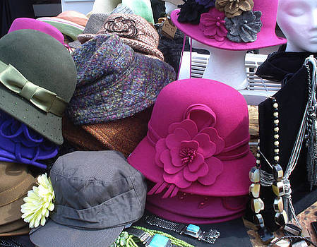 Think Pink - Pink Hat on Fleamarket in Miami by Jessica Gale