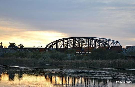 Train on the old Yuma Bridge by Jill Baum