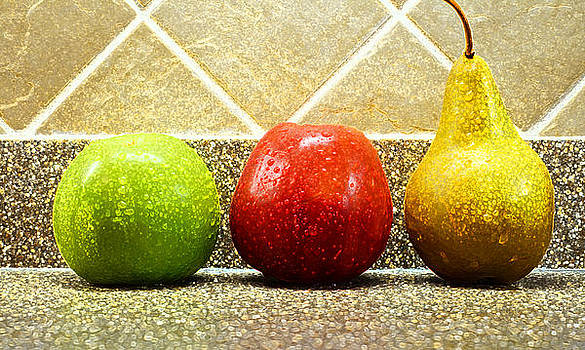 Two Apples One Pear by Ernesto Gomez