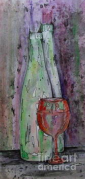Two Bottles And A Red Glass by Catherine Howley