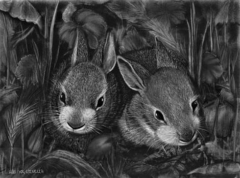 Two Little Cottontails by Miki Krenelka