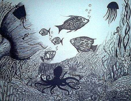 Under water- Pen and Ink by Preetha Jayachandran