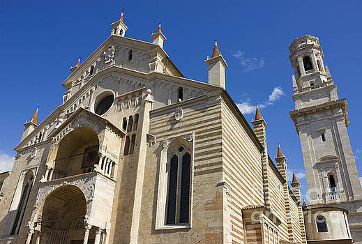 Verona Cathedral facade distant angle shot over blue sky by Kiril Stanchev