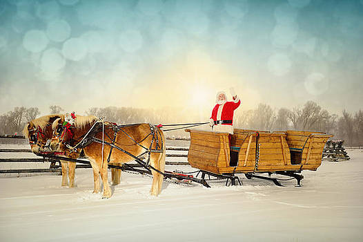 Waving Santa With Sleigh and Team of Horses by Kriss Russell