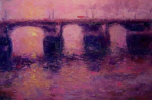 Westminster bridge in winter light by R W Goetting