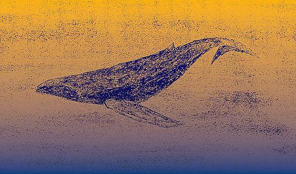 Whale Dive - Digital Ink Stamp Yellow/Blue by Brett Smith