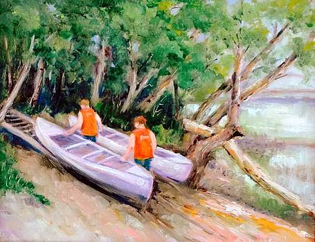 White River Canoe Boys by Holly LaDue Ulrich