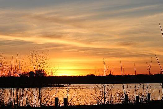 White Rock Lake Sunset by Lorri Crossno